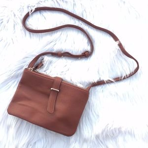 Attention Pebbled Vegan Leather Crossbody Bag